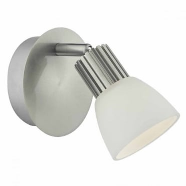 TUCKER - Single LED Satin Chrome and Opal Glass Wall Light , Switched