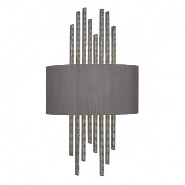 TWAIN - Wall Washer Pewter Complete With Silk Shade (Specify Colour) Wall