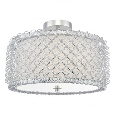 UMAR 3 Light Semi Flush Ceiling Light Silver with Diffuser