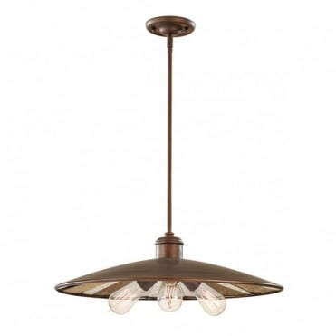URBAN RENEWAL factory style bronze 3 light ceiling pendant light