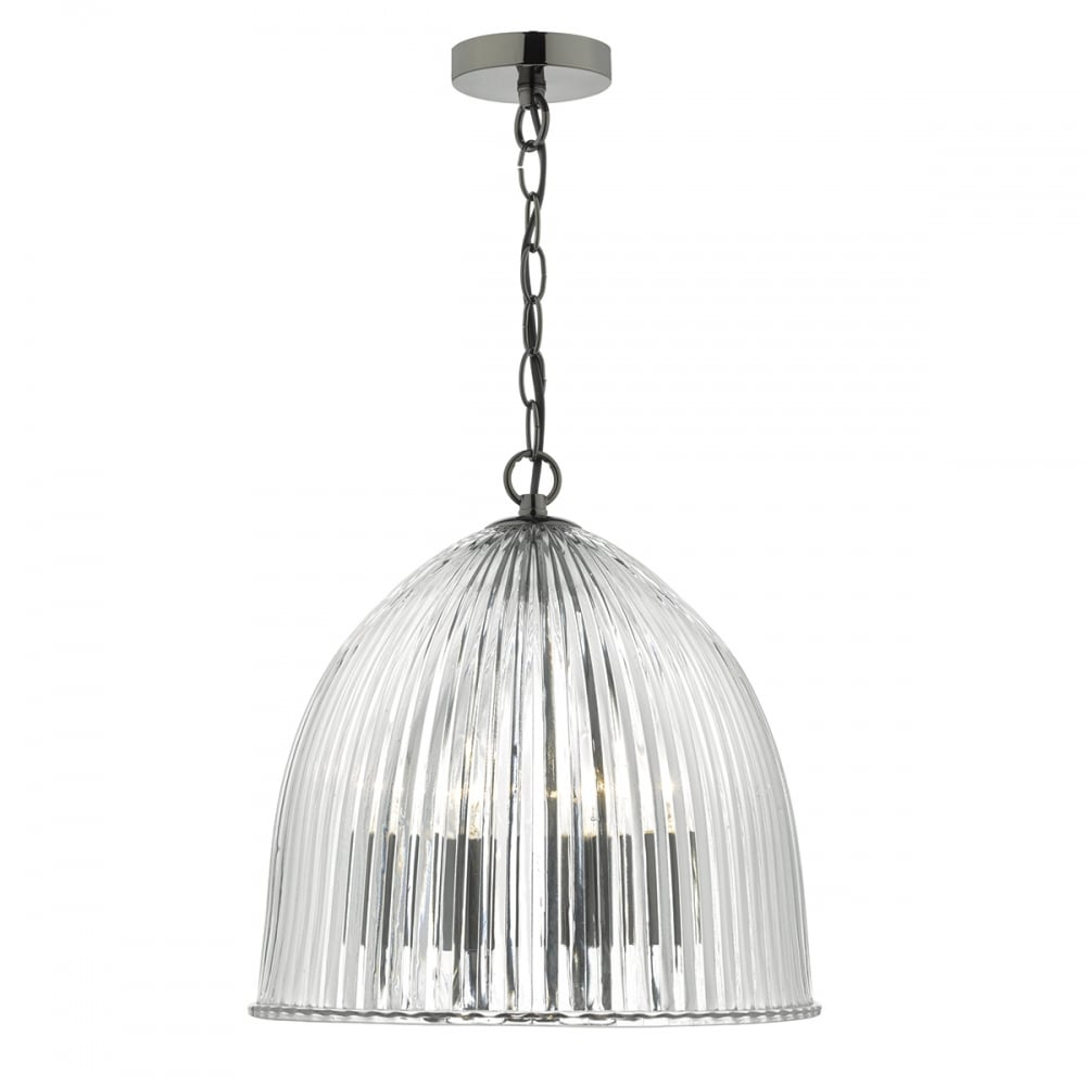 Usher 3 Arm Ceiling Pendant With Clear Ribbed Glass Dome Shade