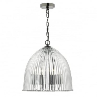 USHER - 3 Arm Ceiling Pendant With Clear Ribbed Glass Dome Shade