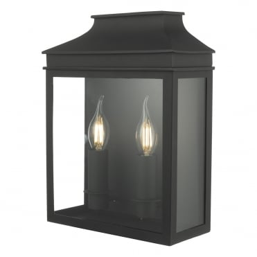 VAPOUR 2 Light Candle Exterior Coach Lantern Matte Black IP44