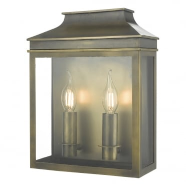 VAPOUR 2 Light Candle Exterior Coach Lantern Weathered Brass IP44