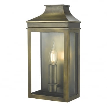 VAPOUR Candle Exterior Coach Lantern Weathered Brass IP44