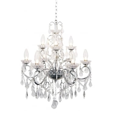 VELA Luxury 9 Light Bathroom Chandelier in Polished Chrome and Crystal Effect Glass
