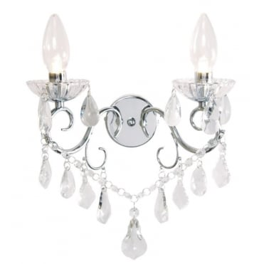 VELA Luxury Bathroom Twin Light Wall Chandelier in Polished Chrome and Crystal Effect Glass