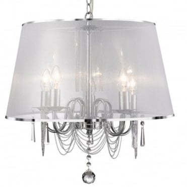 VENETIAN - 5 Light Ceiling Pendant With White Voile Shade