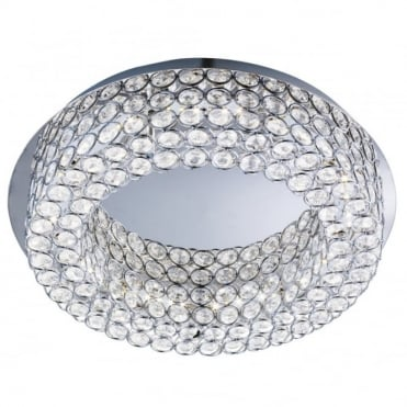 VESTA - LED LED Flush Ceiling Ceiling Light In Chrome With Crystal Decoration in Chrome, Clear