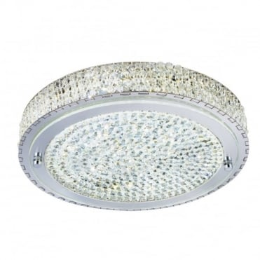 VESTA - LED LED Flush Ceiling Ceiling Light In Chrome With Crystal Decoration in Chrome