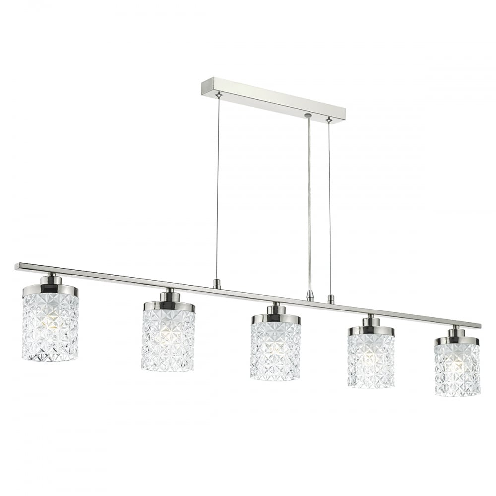 Modern chrome glass ceiling bar pendant lighting and lights uk victoria 5 light bar ceiling pendant polished nickel clear glass polished nickel aloadofball Image collections