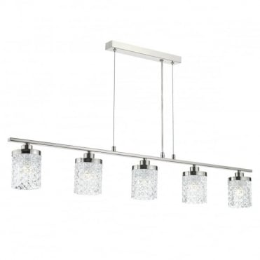 VICTORIA - 5 Light Bar Ceiling Pendant Polished Nickel Clear Glass Polished Nickel