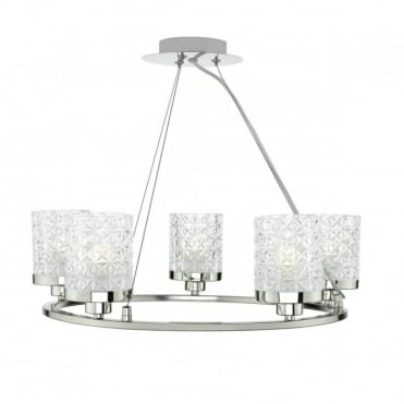 VICTORIA - 5 Light Ceiling Pendant Polished Nickel Clear Glass Polished Nickel