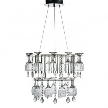 VINO - LED LED 2 Tier Decorative Ceiling Chrome Crystal Button