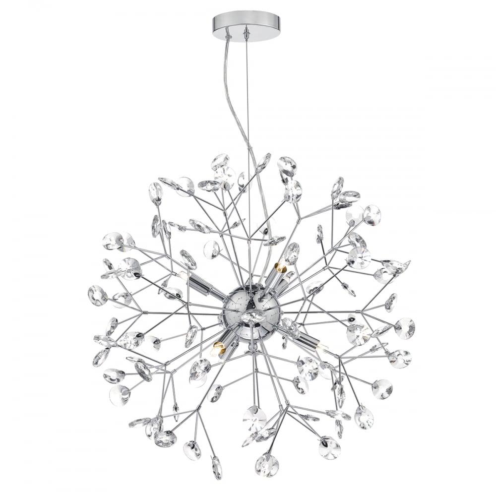 Modern sputnik ceiling pendant polished chrome crystal vivien modern sputnik ceiling pendant polished chrome and crystal mozeypictures Image collections