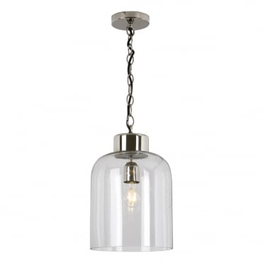 VIZOR 1 Light Lantern Pendant Nickel Seeded Glass