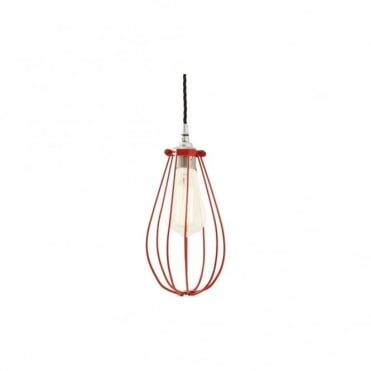 VOX - Vintage Cage Ceiling Pendant Light In Powder Coated Red