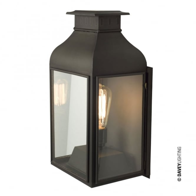 WALL - Lantern Weathered Brass Clear Glass
