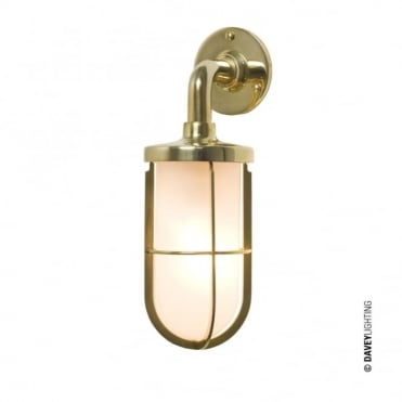WEATHERPROOF - Ship'S Well Glass 7207 Wall Light Polished Brass Frosted Glass E27
