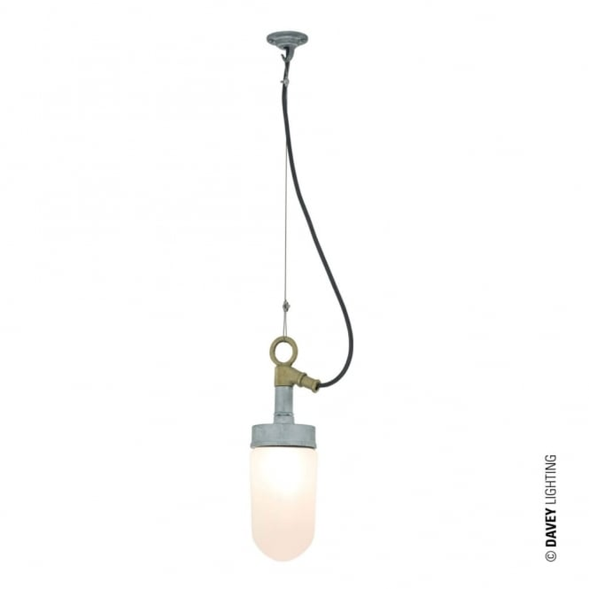 WELL - Glass Ceiling Pendant Galvanised Frosted Glass in Brushed Aluminium