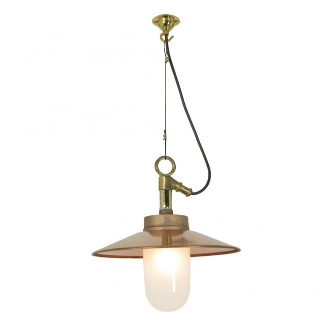 WELL - Glass Ceiling Pendant With Visor Gunmetal Frosted Glass Ip44