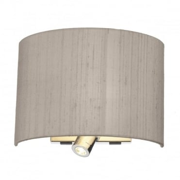 WETZLAR - Polished Chrome Dual Wall Light with Choice of Silk Shade , Switched