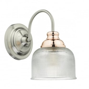 Styles Of Lighting With Wharfdale Single Wall Bracket Satin Chrome Copper Complete With Textured Glass Switched Retro And Vintage Style Lighting From The 1940u0027s 1950u0027s 1960u0027s