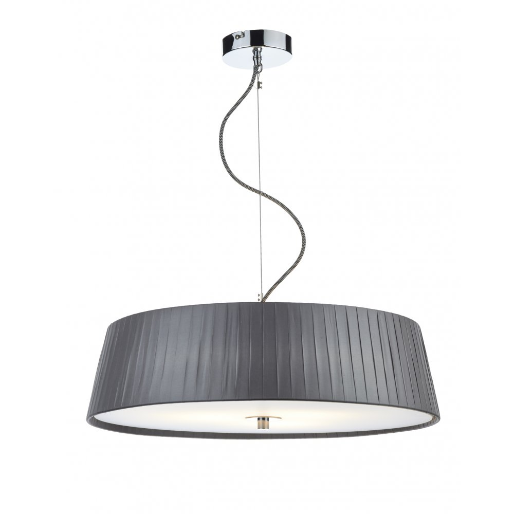 Contemporary Ceiling Pendant With Grey Ribbon Shade