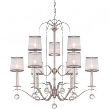 WHITNEY 9 Light 2 Tier Ceiling Chandelier Imperial Silver White Organza Shades, Crystal Drops