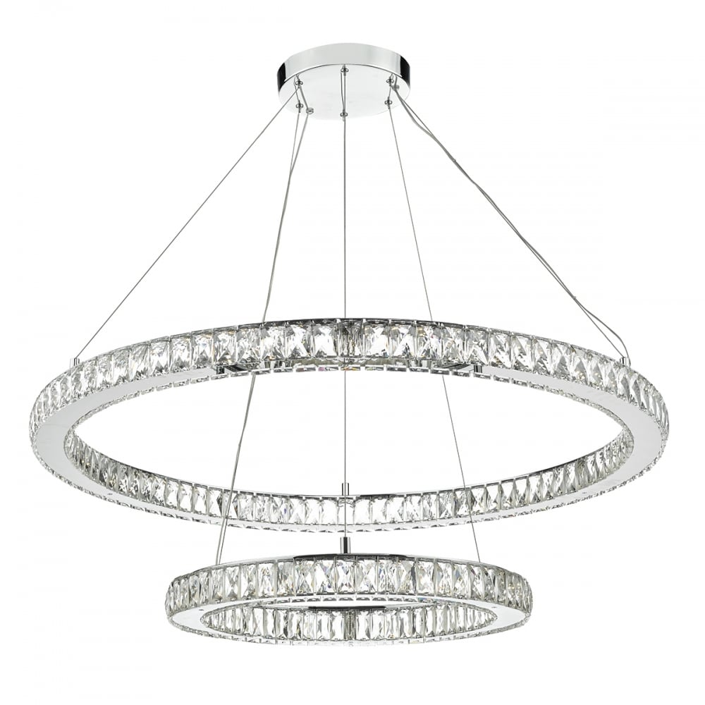 Large contemporary led ceiling light 2 hoops lighting and lights uk wonder led double tier ceiling pendant crystal polished chrome led polished chrome mozeypictures Image collections