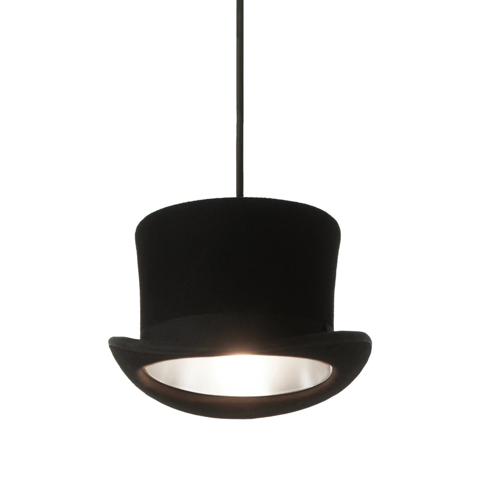e1a24e35598 Innermost WOOSTER - Black Felt Top Hat Ceiling Pendant with SIlver Anodized  Interior