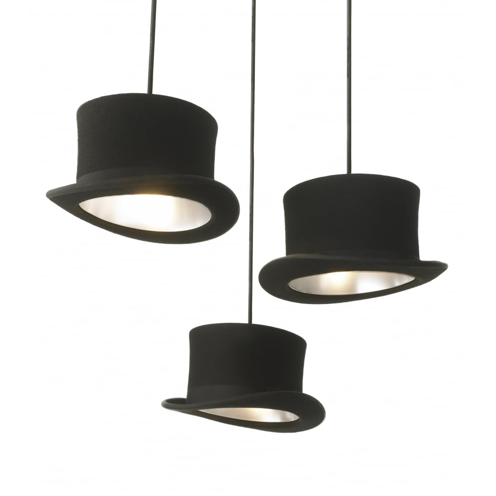 14759dc82ae WOOSTER - Black Felt Top Hat Ceiling Pendant with SIlver Anodized Interior
