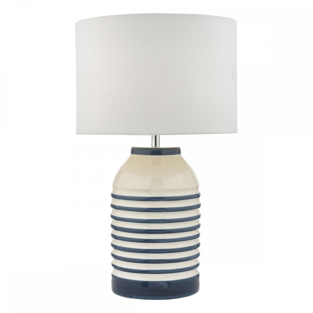 53725d7bc70a ZABE Ceramic Table Lamp White & Blue Stripes with Ivory Linen Drum Shade