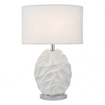 ZACHARY Sculptural Oval Table Lamp in White with Matching Shade