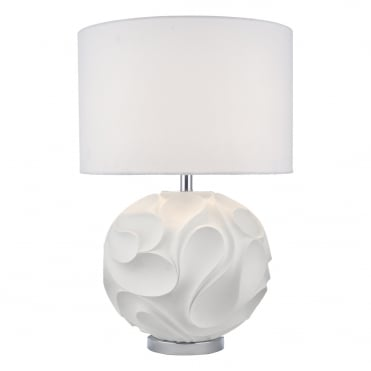 ZACHARY Sculptural Round Table Lamp in White with Matching Shade
