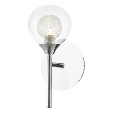 ZEKE Single Wall Light Polished Chrome and Spun Glass , Switched